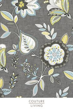 Octavia is a stunning collection from Clarke & Clarke, featuring bright flowers and plants to add a touch of summer to any home, seen here in Charcoal Chartreuse. Available as curtains or blinds, made to measure by Couture Living. Fabric Blinds, Curtains With Blinds, Curtain Fabric, Floral Curtains, Floral Fabric, Blackout Blinds, Floral Theme, Bright Flowers, Charcoal
