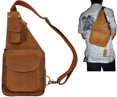 Men's Small Leather Messenger Bag Crossbody by Mariabagbagworld, $59.00