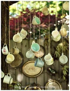 the Back Porch with Jennifer Rizzo Hanging teacups! A novel garden party, outdoor wedding idea or Alice in Wonderland themed bachelorette party! A novel garden party, outdoor wedding idea or Alice in Wonderland themed bachelorette party! Décoration Garden Party, Garden Party Decorations, Garden Parties, Diy Decoration, Garden Wedding, Mad Tea Parties, Wedding House, Wedding Wall, Vintage Tea