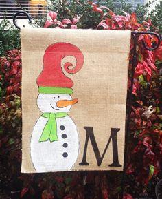 Burlap Garden Flag Snowman Monogram by PrettyNSweetCouture on Etsy, $20.00