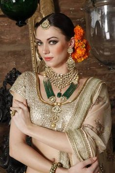 Kundan+green with off white
