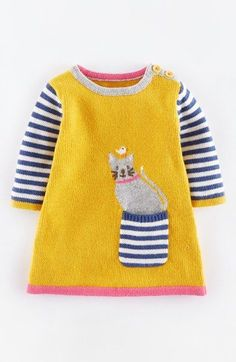 Mini Boden 'Fun' Pocket Knit Dress (Baby Girls) at Nordstrom.com. A playful pocket amps up the charm factor of this long-sleeve knit dress, a classic silhouette made cozy with a kiss of cashmere.