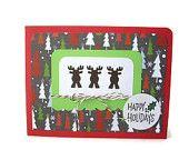 happy holidays reindeer christmas card, moose card, festive christmas