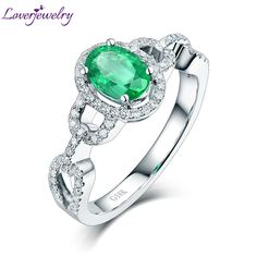 Genuine Emerald Ring,Natural Emerald Diamonds Ring 18KT White Gold For Women G090458