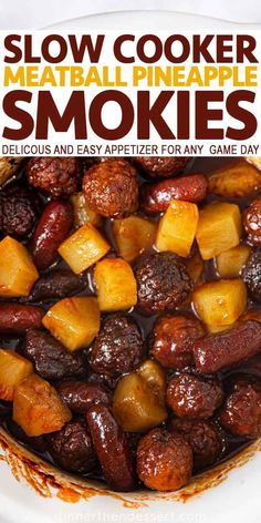 crockpot appetizers Slow Cooker Meatball Pineapple Smokies are a delicious and easy appetizer. Meat Appetizers, Appetizer Recipes, Dinner Recipes, Thanksgiving Appetizers, Slow Cooker Appetizers, Slow Cooker Recipes, Crockpot Recipes, Cooking Recipes, Crock Pot Meatballs