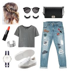 ♡mon jean à patchs...♡ by clarinette38 on Polyvore featuring polyvore fashion style WithChic Sans Souci Puma Chanel Daniel Wellington Yves Saint Laurent Anya Hindmarch NARS Cosmetics Hollywood Mirror clothing