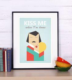 Scandinavian design, retro print, A3, folk couple in love, kiss me when I'm home, Scandinavian poster, simple style