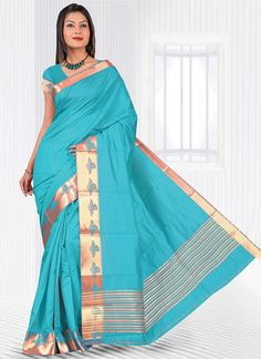 Paramount Turquoise Patch Border Work Casual Saree