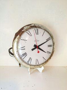 Electric Wall Clock Vintage Silver PostWar by FarmHouseFare, $229.00