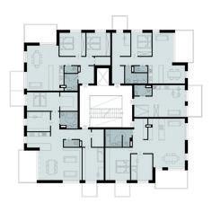 Grundriss Wohngeschoß_q - residential architecture Modern Residential Architecture, Arch Architecture, Cultural Architecture, Architecture Portfolio, Plan Hotel, Hotel Floor Plan, The Plan, How To Plan, Floor Plan Layout