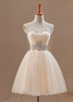 Strapless Champagne Sequins Evening Dress
