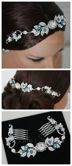 Bridal Crystal Headpiece Teal Blue Wedding Comb Leaf Hair Accessory Crystal Wedding Hair Piece Bridal Hair Jewelry CHRISTA