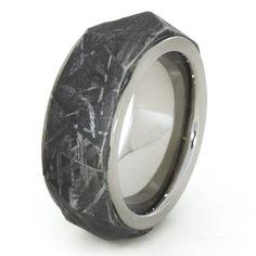 He picked. Titanium Ring with Angular Cut Gibeon Meteorite by jewelrybyjohan