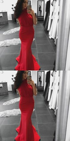 Mermaid High Neck Red Long Prom Dress #promdresses #longpromdresses #mermaidpromdresses #redpromdresses #eveningdresses