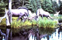 fighting sculpture moose inside Animaland park