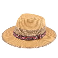 Summer Straw Panama Hat with Aztec Pattern Band (ST-352)