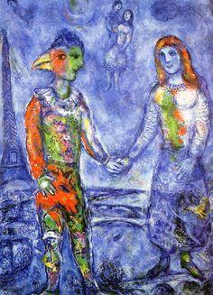 1973 Marc Chagall. Le Ciel de Paris Huile sur Toile 100x73 cm Collection Particulière. #Art #Francia #Fauvismo @deFharo #Jewish #art #marc-chagall #marcchagall #MarcChagall