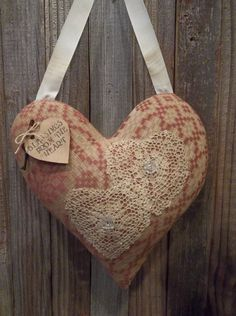 Prim Woven Textile Heart...with stained lace doilies & tag.