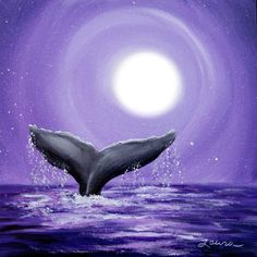 Whale Tail in Lavender Moonlight Original Painting - SOLD - Prints available . - Whale Tail in Lavender Moonlight Original Painting – SOLD – Prints available – - Small Canvas Paintings, Small Canvas Art, Easy Canvas Painting, Mini Canvas Art, Animal Paintings, Original Paintings, Acrylic Canvas, Painting Prints, Oil Paintings
