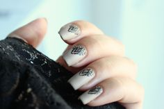 "f r e n c h attitude with essie ""sand tropez"" and ""licorice"" // and moyou stamping ""the pro 04"""
