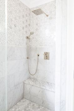 Hex tiles on the floor? Exquisite shower features marble hex tiles on upper walls and stacked marble tiles on lower walls . Marble Tile Bathroom, Bathroom Flooring, Marble Tiles, Hexagon Tiles, Bathroom Canvas, Master Shower Tile, Gold Bathroom, Hex Tile, Penny Tile