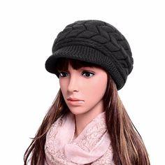 Women Thicken Cotton Beret Hat Faux Fur Soft Warm Plush Ski Berets Cap