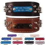 The Brutus. This is one tough collar for tough dogs only. 2 inches wide and full of spikes, the Brutus is not for the feint of heart. Our most popular spiked leather collar and now you can have it customized with an engraved name plate. Nfl, Bully Sticks, Personalized Dog Collars, Leather Dog Collars, Pet Collars, Pet Id, Normal Wear And Tear, Animal Design, Dog Supplies