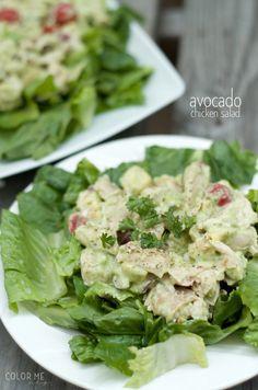 avocado chicken salad on romaine