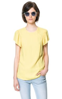 TOP WITH FRILLED SLEEVES - Tops - Woman | ZARA United States color Yellow $60 #work