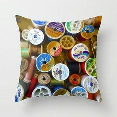 Spools Photo Pillow Cover ~  Sewing Room Decor  ~ Colorful Pillow ~ Sewing Gift for Her ~ Craft Room Decor ~ Decorative Pillow, Throw Pillow