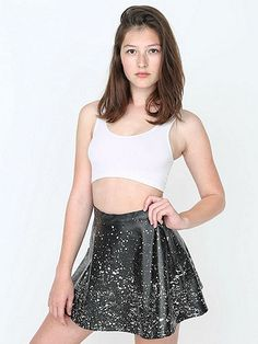 AMERICAN APPAREL PAINT SPLATTER VEGAN LEATHER CIRCLE SKIRT IN BLACK/WHITE