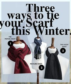 Knightsbridge Neckwear. Getting ready for the cold winter ahead we are giving you three great ways to tie your scarfs this season...THE EURO KNOT, THE ASCOT KNOT and the THE PRETZEL KNOT: Tweed scarf. Wool scarf. How to tie your scarf. Different ways to tie your scarf. https://www.knightsbridgeneckwear.co.uk