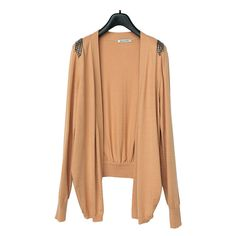 pu leather embellished shoulder irregular hem sweater