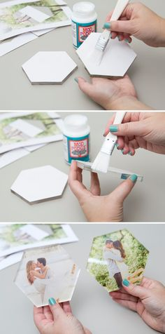 You HAVE To See This DIY Acrylic Hexagon Photo Cake Topper! How to make your own DIY cake topper that you can use after the wedding! Diy Wedding Cake Topper, Diy Cake Topper, Acrylic Cake Topper, Wedding Cake Decorations, Photo Cake Toppers, Hexagon Wedding Cake, Valentine Decorations, Cupcake Toppers, Acrylic Invitations