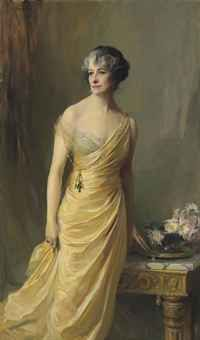 Lady Ludlow, née Alice Sedgwick Mankiewicz (previously Lady Wernher), standing, three-quarter-length, in a yellow evening dress, 116K gbp