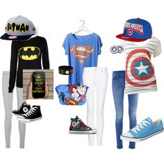 superhero outfit by krazykira-1 on Polyvore featuring moda, Pull&Bear, MANGO, 7 For All Mankind, dVb Victoria Beckham, Converse, Retrò and New Era