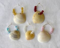 Beach Wine Glass Charms Set of Five by HandmadeHappinessbyR