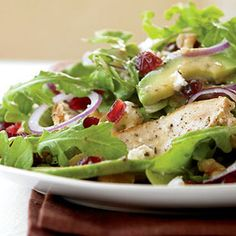 Grilled chicken salad with cranberries, avocado and goat cheese  10 Healthy Lunch Ideas http://www.womenshealthmag.com/nutrition/lunch-ideas