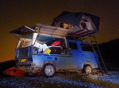 Roof tent camping under the stars on a VW Syncro Double Cab