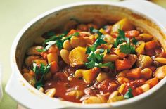 Our quick, cheap and easy to make vegetable stew has been taken from our January 1943 issue. This recipe has been speeded up by swapping haricot beans for canned butter beans.