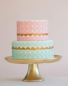 pink, mint, and gold cake
