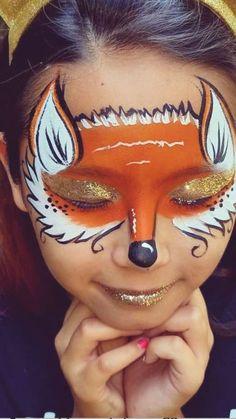Fox Makeup, Kids Makeup, Makeup Art, Zombie Makeup, Face Painting Tutorials, Face Painting Designs, Fox Face Paint, Christmas Face Painting, Face Paint For Halloween