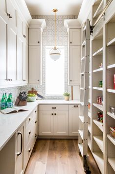 Love the ladder and use of wallpaper here Kitchen Butlers Pantry, Pantry Laundry Room, Kitchen Pantry Design, Prep Kitchen, Kitchen Doors, Butler Pantry, Kitchen Cabinet Layout, Pantry Inspiration, Apartment Therapy