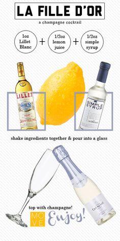 La Fille D'Or: Lillet, Lemon & Champagne -- a light feminine champagne cocktail fit for a Golden Birthday.