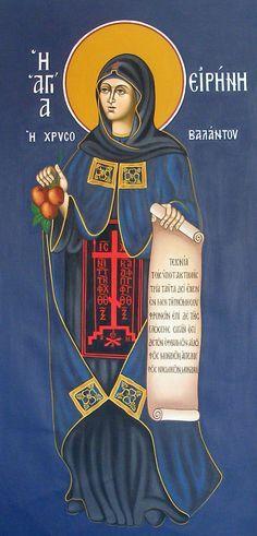 Irene Chrysovolantou by Alexandra Kaouki of Crete Byzantine Art, Byzantine Icons, Religious Icons, Religious Art, Orthodox Christianity, Russian Orthodox, Catholic Saints, Orthodox Icons, Sacred Art