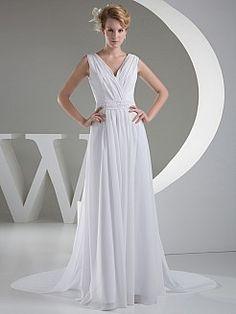 Nerit - a-line bez rękawów szyfon suknia ślubna z sieczka - PLN 555,97zł