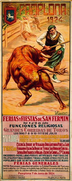 Cartel de los Sanfermines de 1924 - Fiestas y ferias de San Fermín, Pamplona :: Autor: Julián Alcaraz #Pamplona