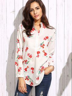Blusa flor estampada dobladillo curvo-Sheinside
