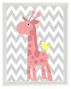 Giraffe Bird Chevron Nursery Wall Art Print - Pink Yellow Gray Decor Girl Room Baby - Wall Art Home Decor 8x10 Print. $15.00, via Etsy.