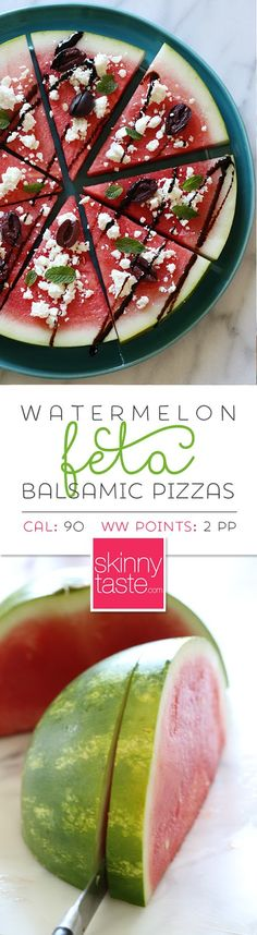 "Watermelon Feta and Balsamic ""Pizzas"" – a fun summer appetizer or the perfect side dish for anything you put on the grill."